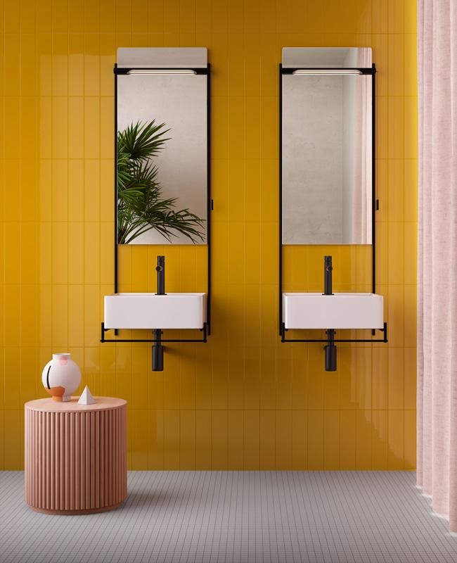 deco salle de bain moderne jaune moutarde