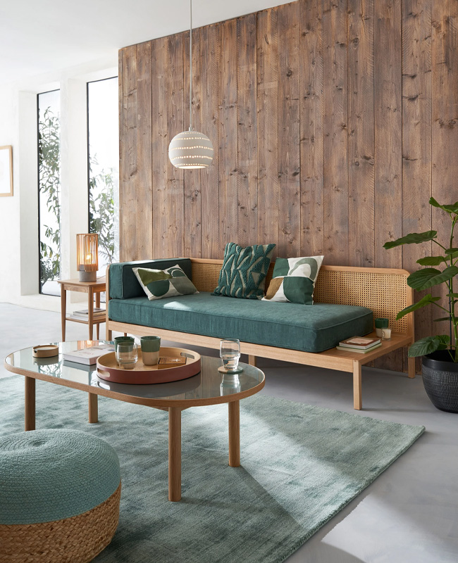 deco salon moderne vert bois