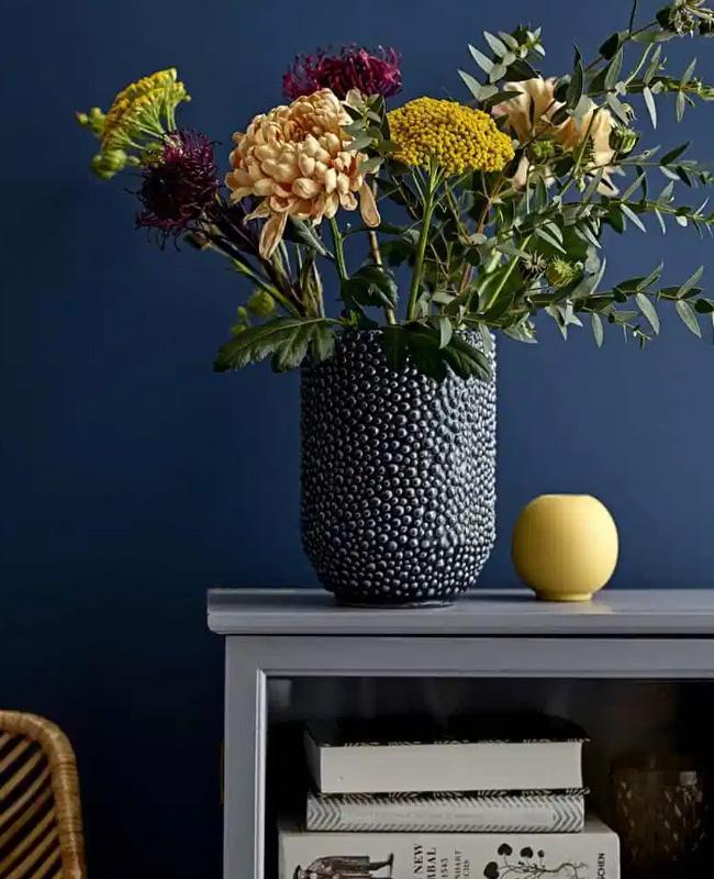 vase perle bleu