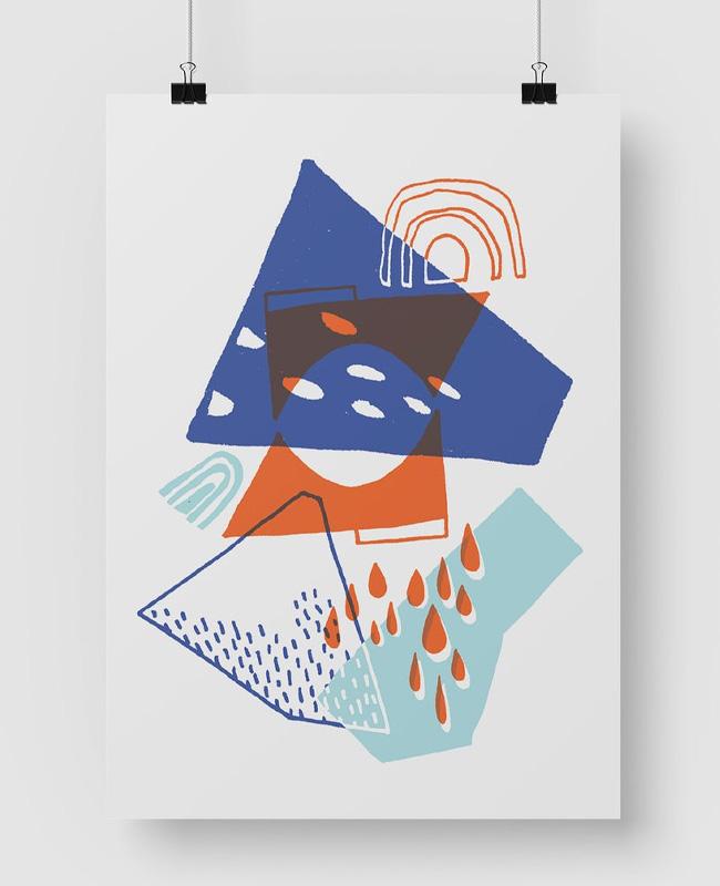 affiche abstraite colorée