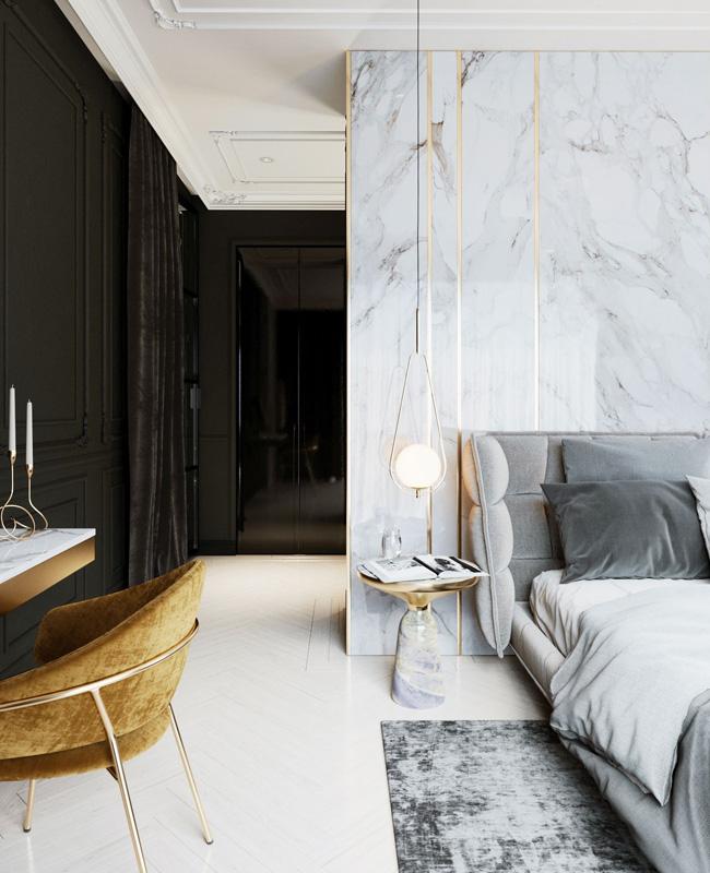 deco chambre tete de lit marbre