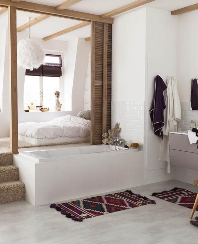 panneau bois separation deco salle de bain ouverte chambre