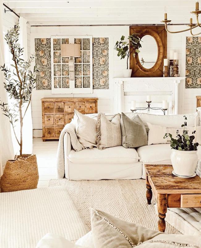 deco canape blanc salon campagne