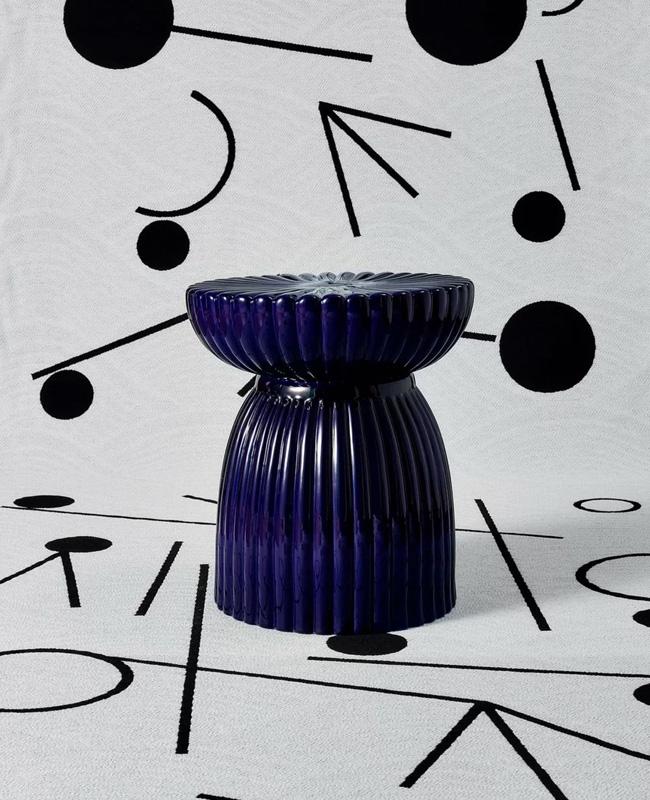 table appoint totem ceramique bleu