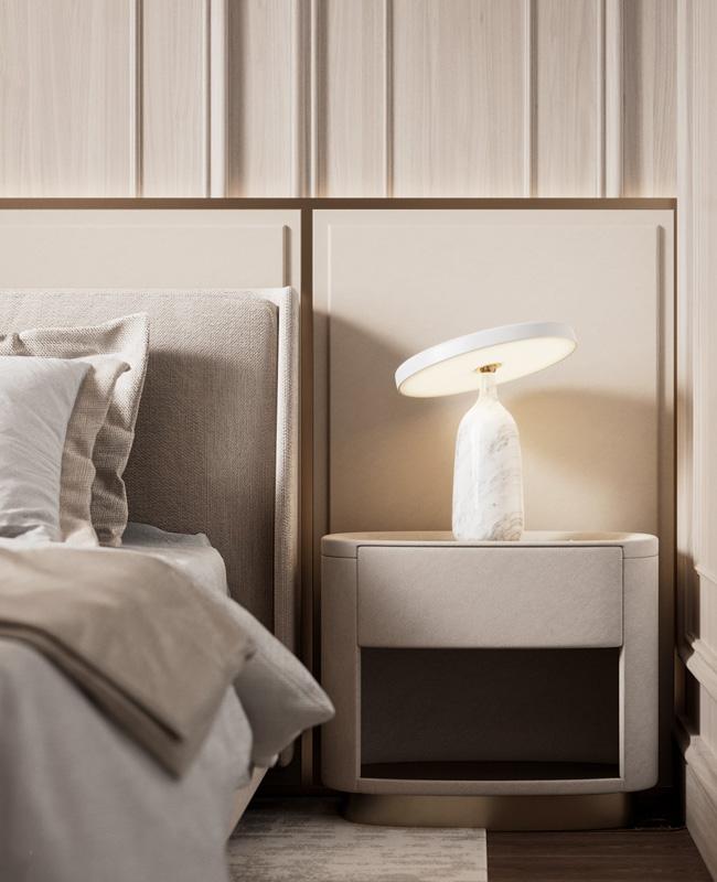 deco chambre lampe chevet marbre blanc