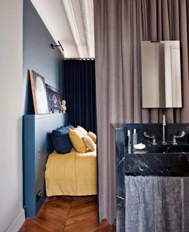 rideau separation deco salle de bain ouverte chambre