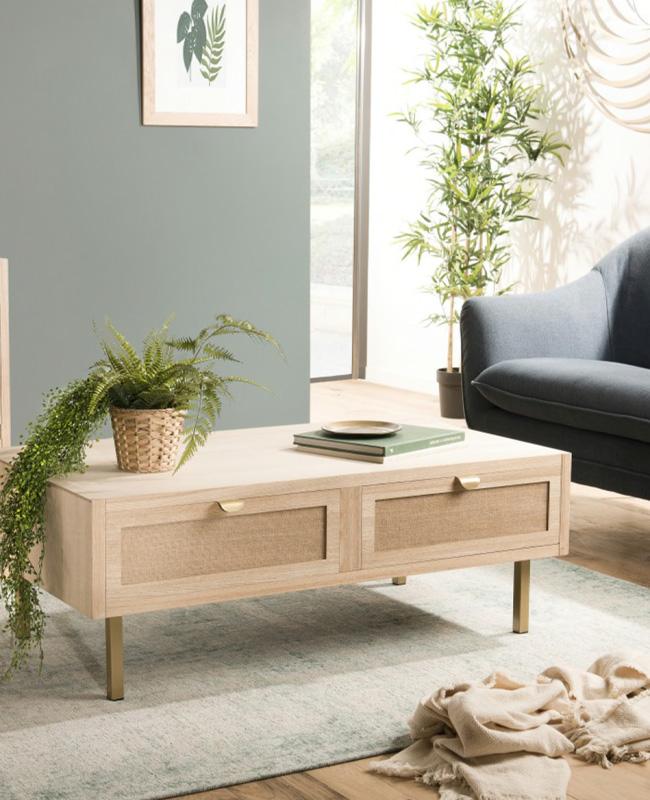 table basse tiroir toile jute