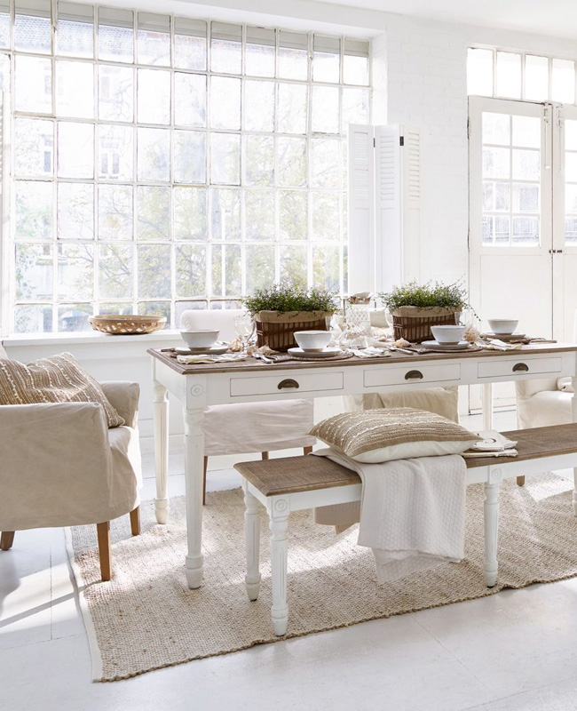 deco salle a manger campagne table blanche