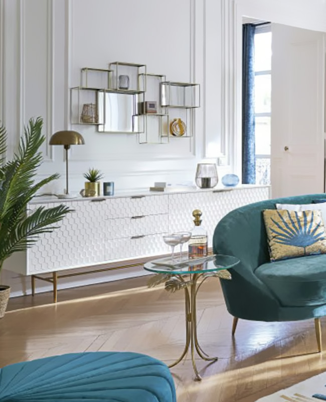 buffet blanc vintage motif