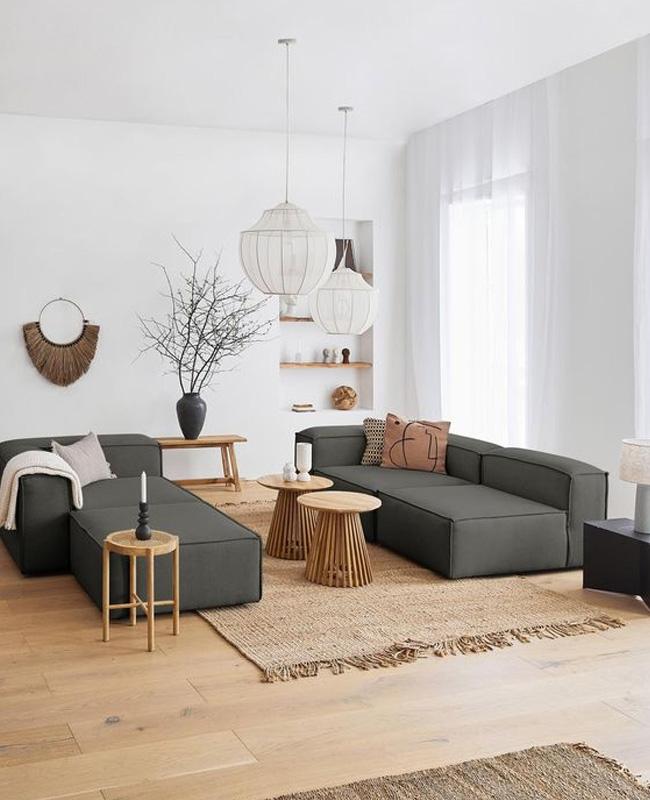 deco salon moderne nature canape gris