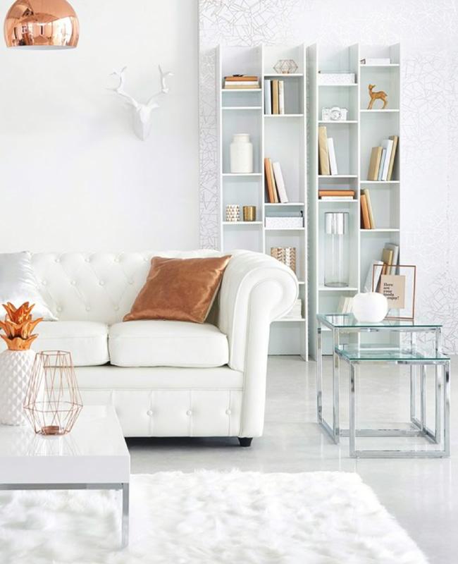 bibliotheque moderne blanche deco salon