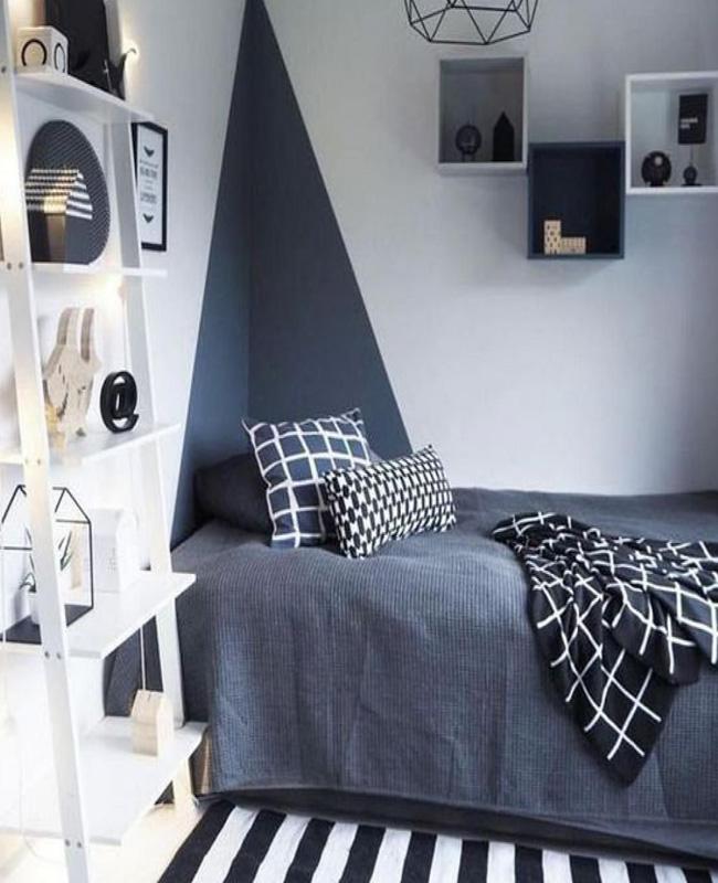 deco chambre ado moderne mur gris