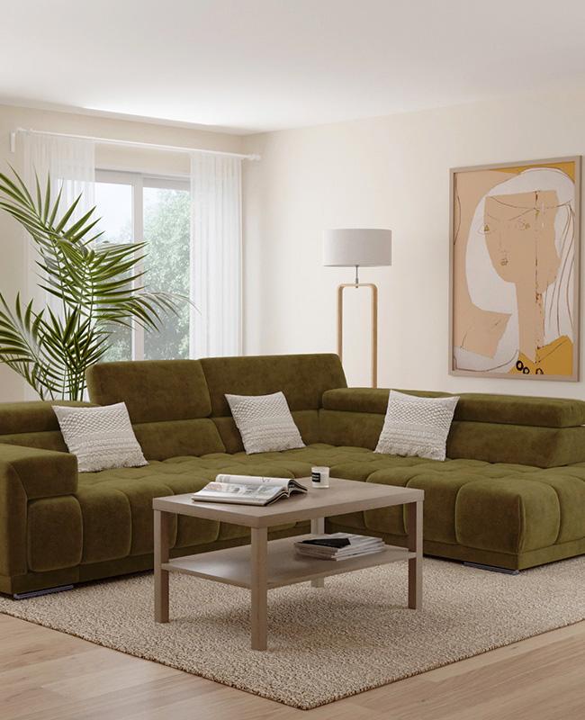 deco salon canape vert kaki mur beige