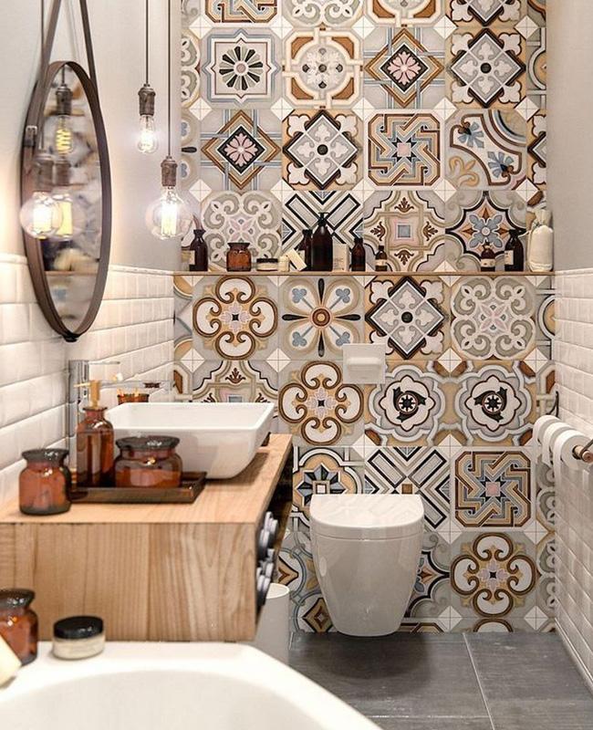 mur carreaux de ciment deco toilettes wc