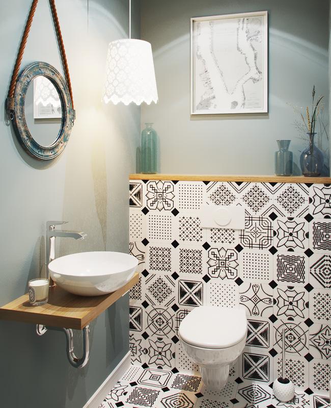 deco carreaux de ciment noir blanc toilettes wc