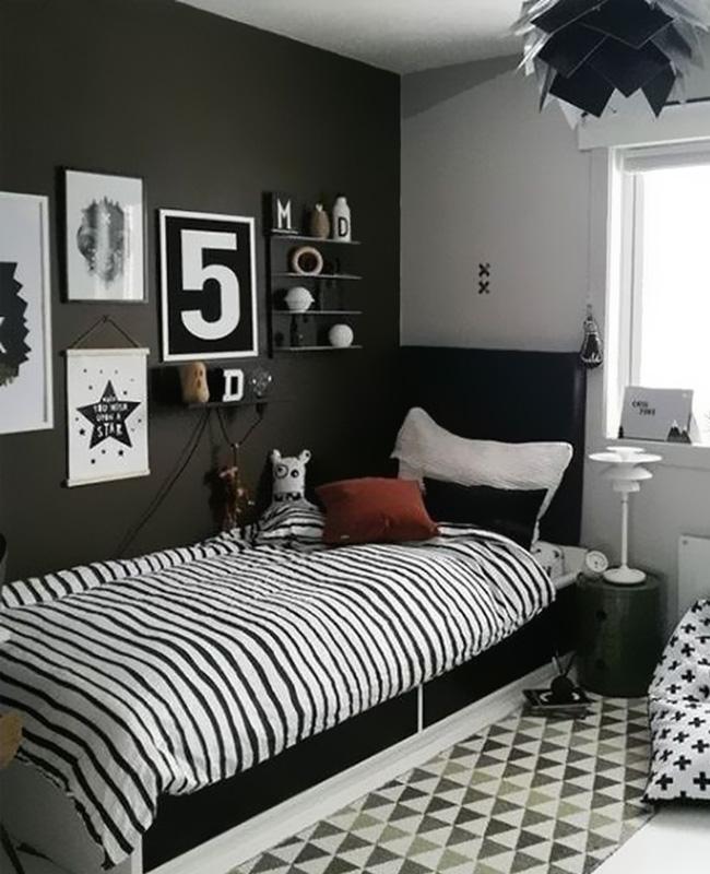 deco chambre ado moderne mur noir