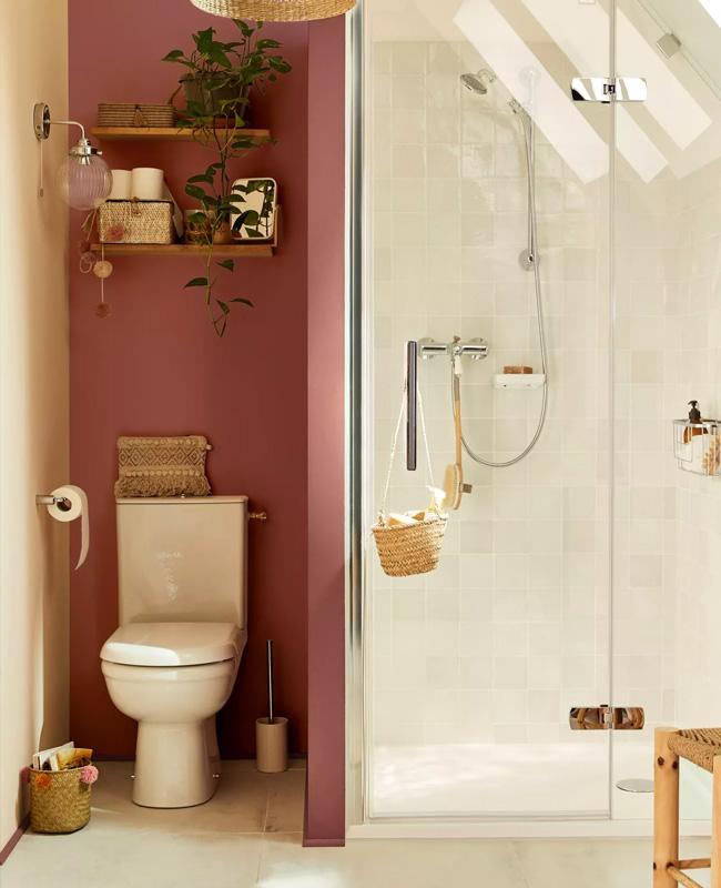 deco toilettes wc mur rose