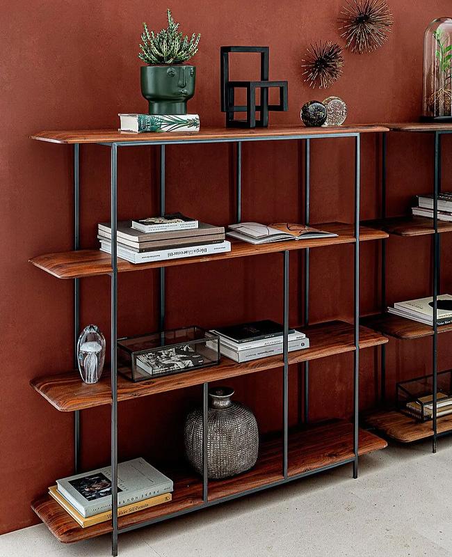 bibliotheque noir bois moderne