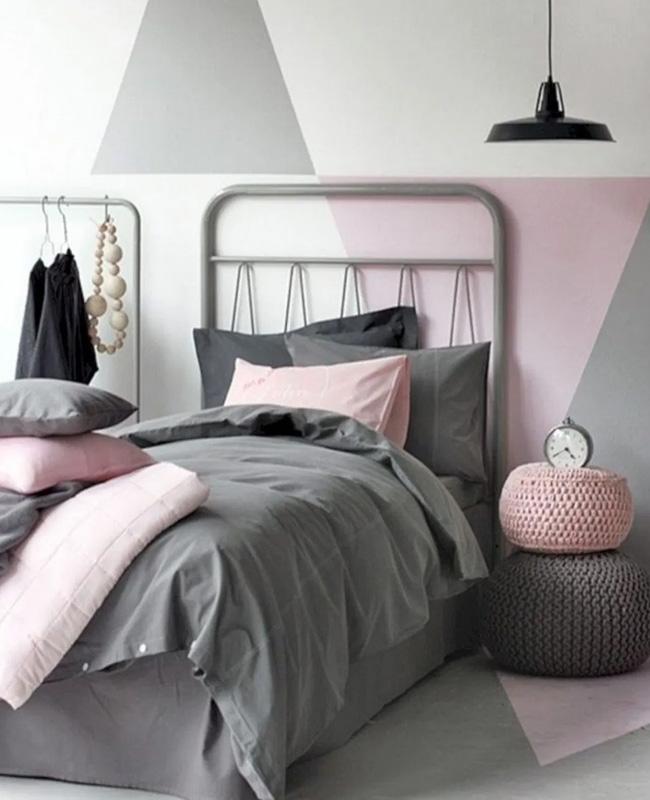 mur géométrique rose gris deco chambre ado moderne