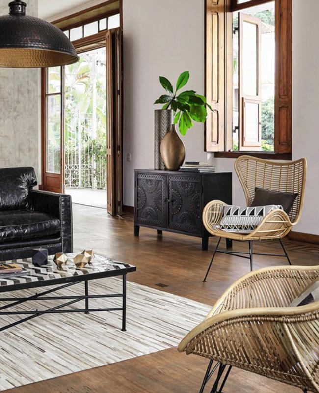 deco salon rotin noir canape fauteuil