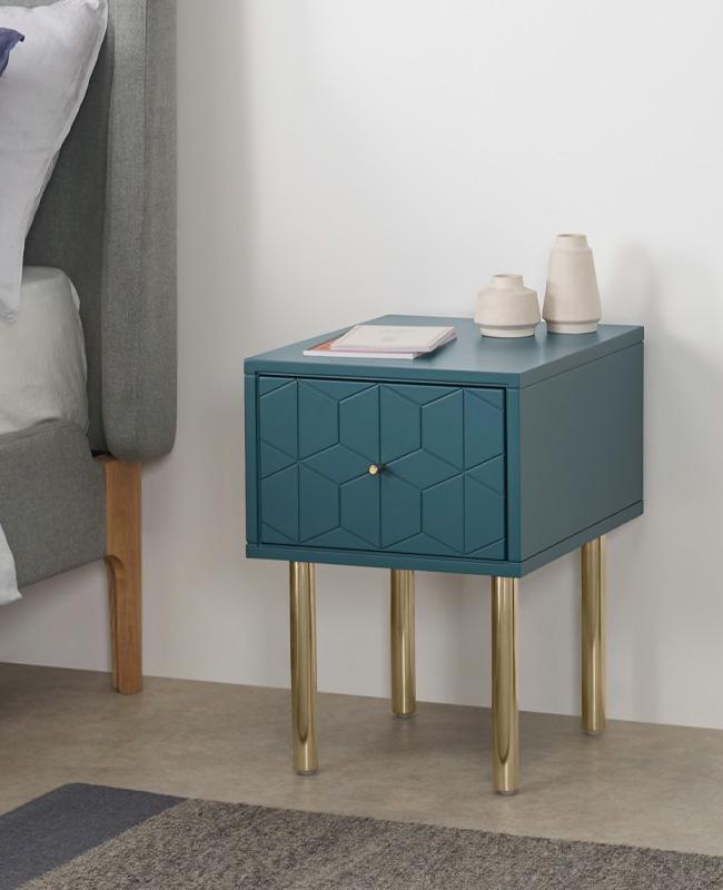 table de chevet motif bleu canard dore art deco