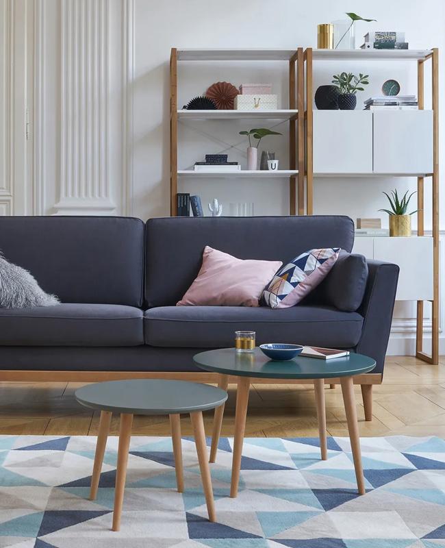 canape gris bois scandinave