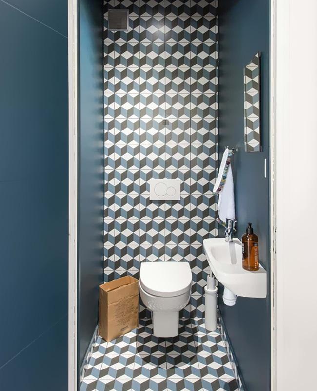 deco carreaux de ciment toilettes wc mur sol