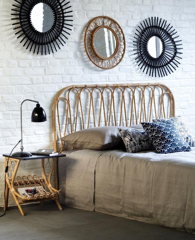 deco chambre tete de lit rotin miroir noir