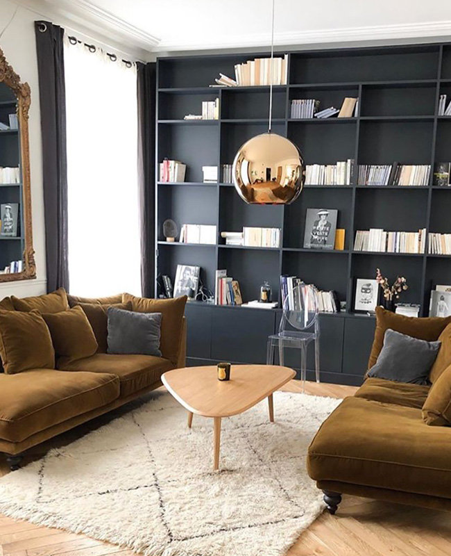 deco salon moderne chic bibliotheque noire