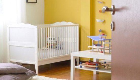 deco chambre bebe jaune blanc