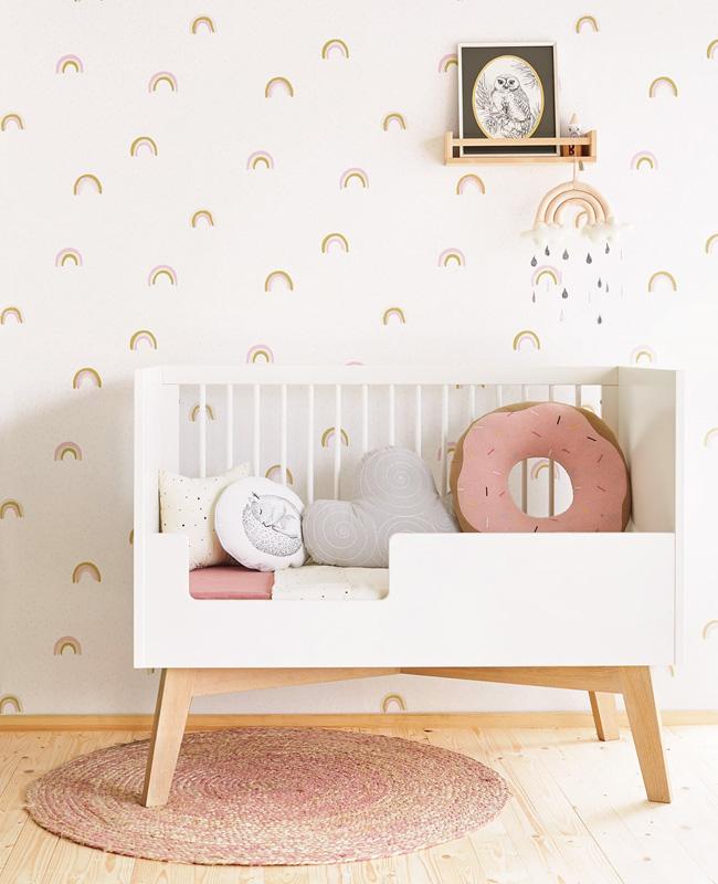 deco chambre bebe arc en ciel papier peint