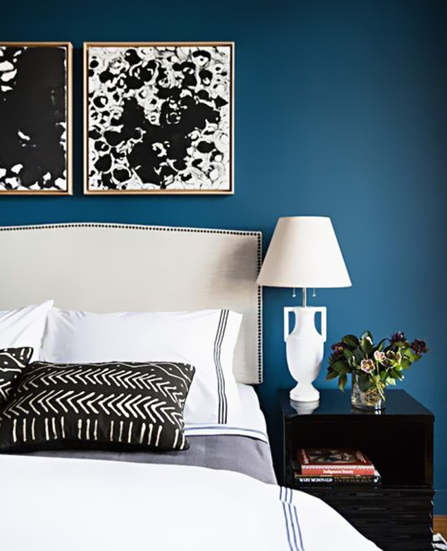deco chambre chic bleu canard noir