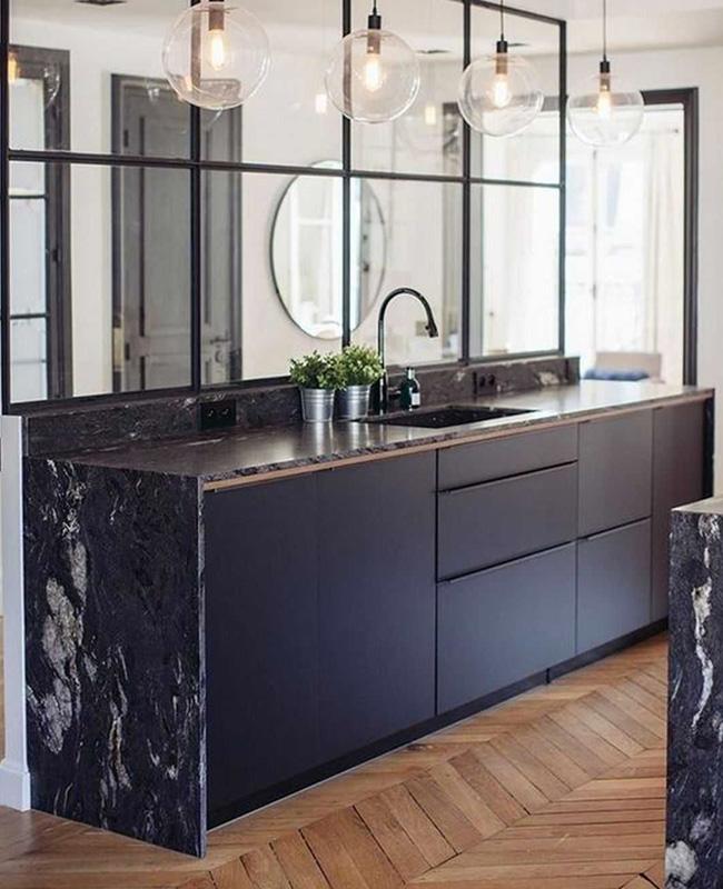 deco cuisine marbre noir bois