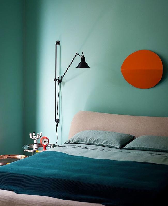 deco chambre moderne bleu canard noir