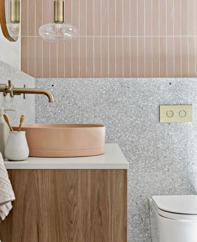 deco toilettes wc gris rose dore