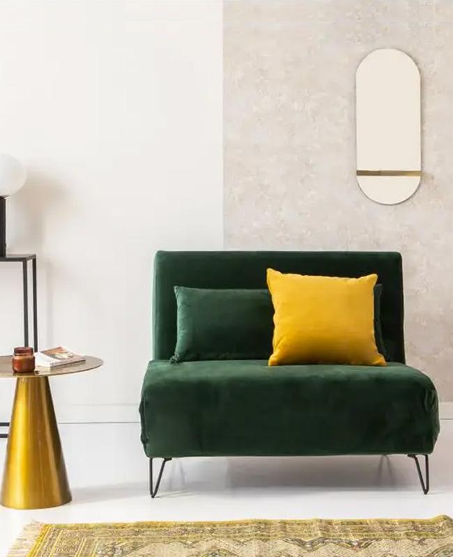 fauteuil lit convertible velours vert