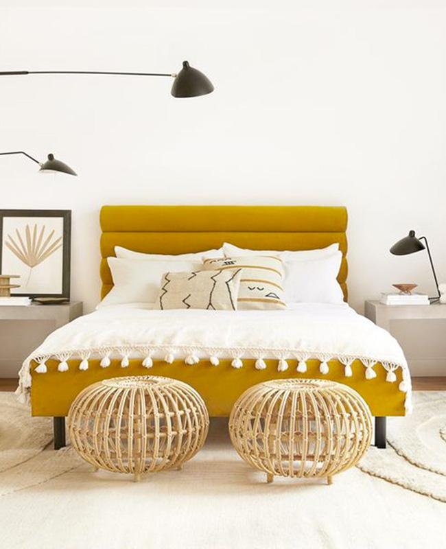 lit moderne jaune moutarde deco chambre