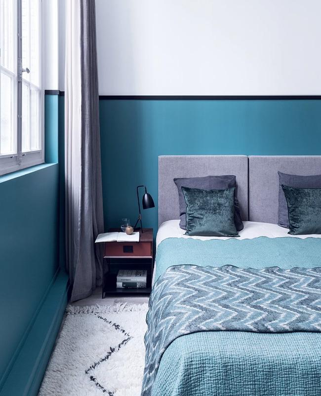 deco chambre bleu canard noir chic vintage