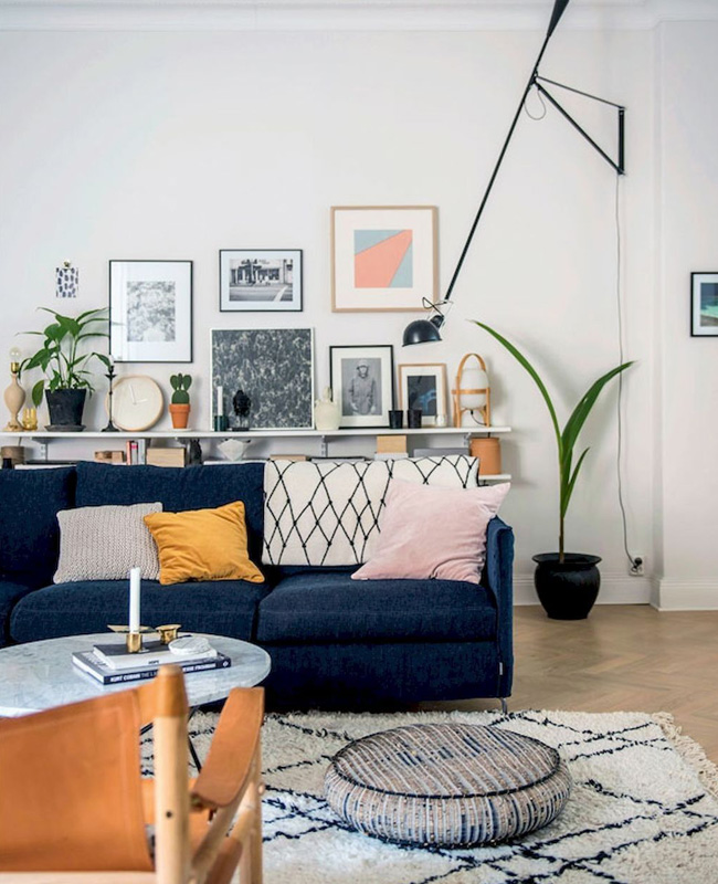 deco salon moderne bleu boheme