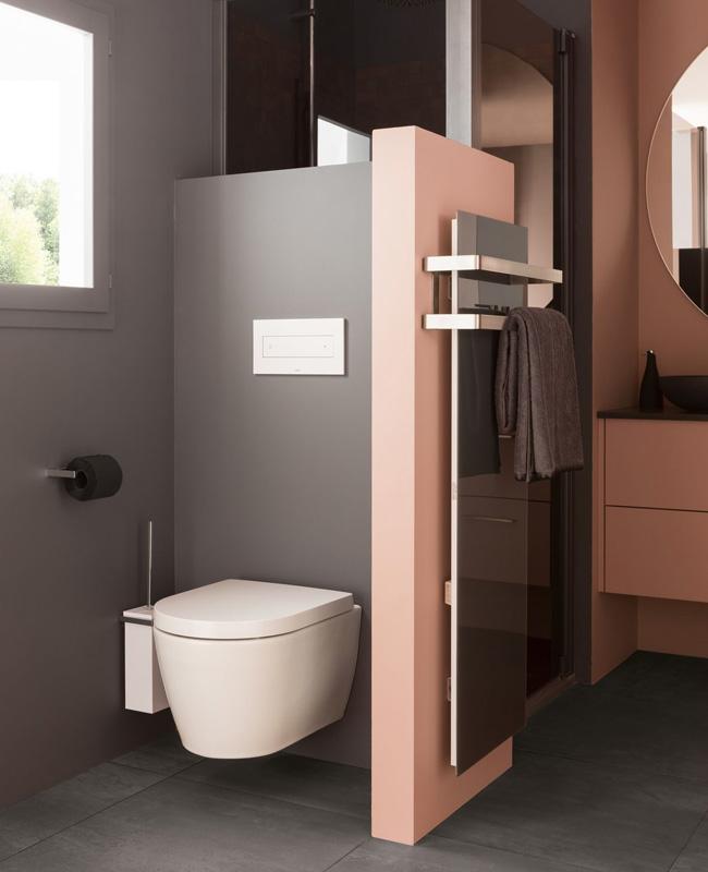 deco toilettes moderne gris rose