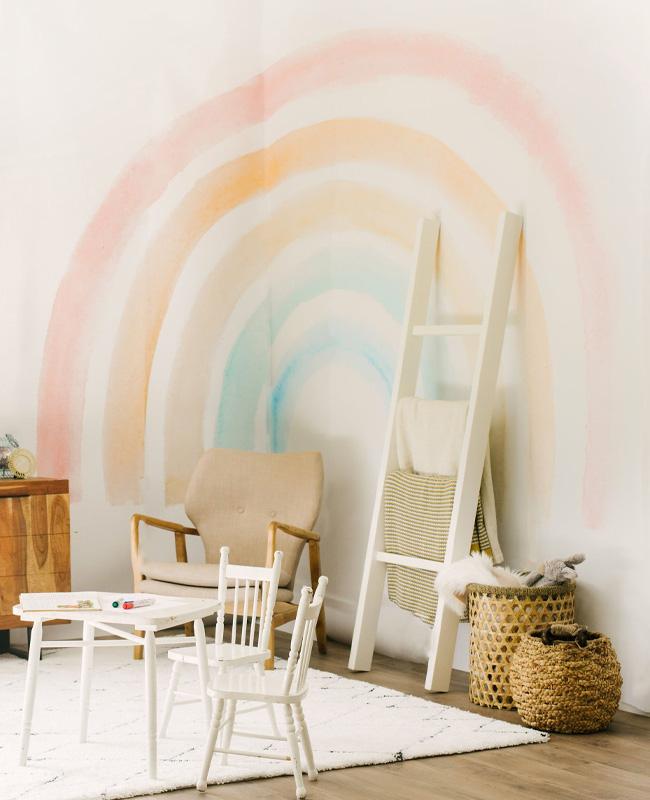 deco murale arc en ciel pastel chambre bebe