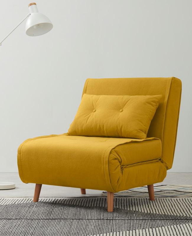 fauteuil lit convertible jaune
