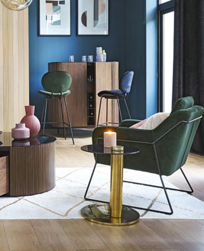 fauteuil velours moderne vert