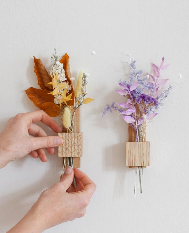 support mural fleurs sechees bois