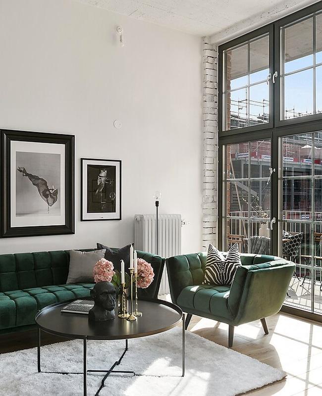deco salon moderne fauteuil velours vert