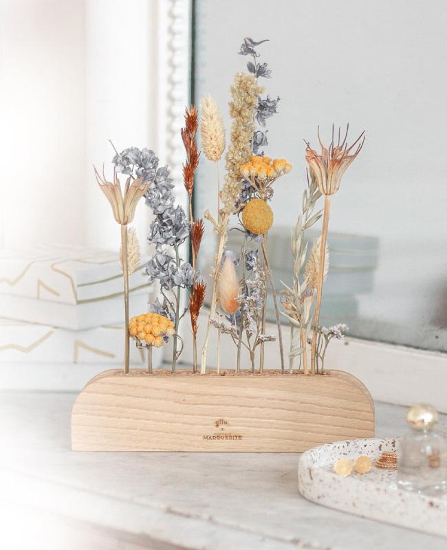 porte fleurs sechees bois