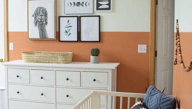deco chambre bebe orange gris
