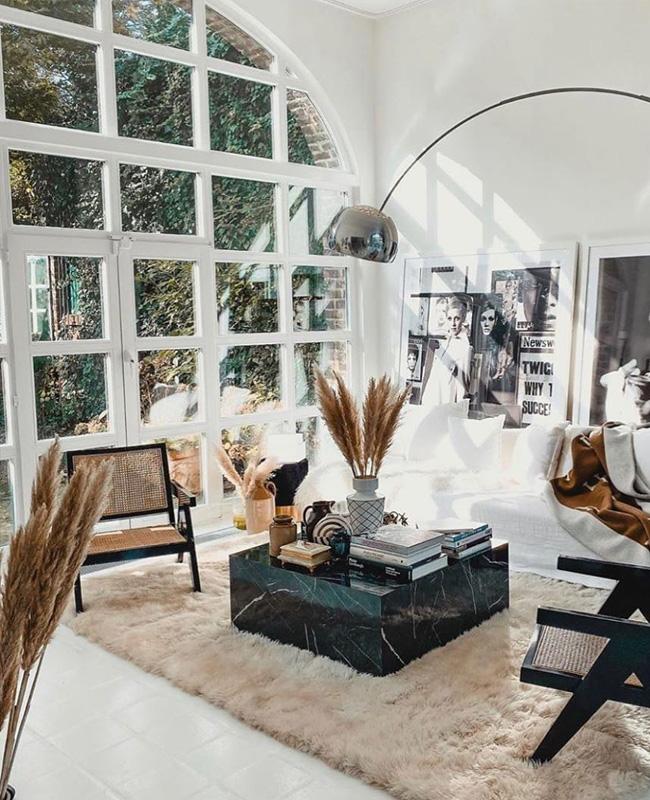 deco salon table basse carrée marbre noir