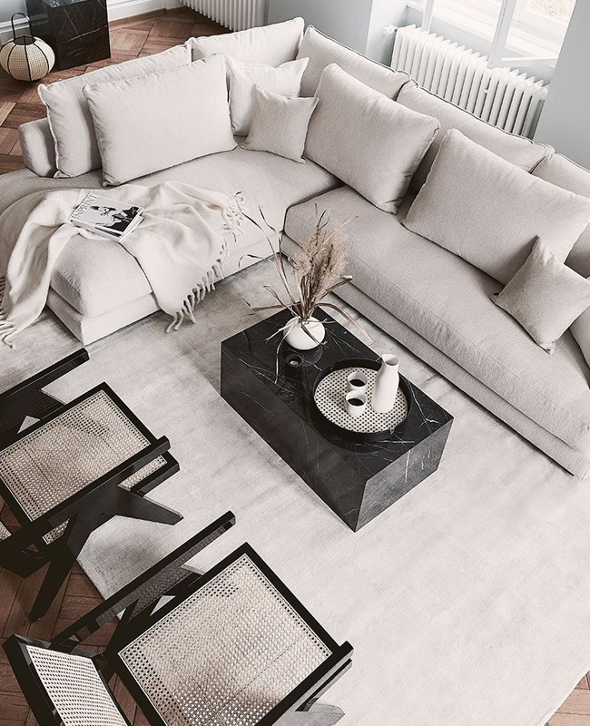 deco salon moderne table basse marbre noir