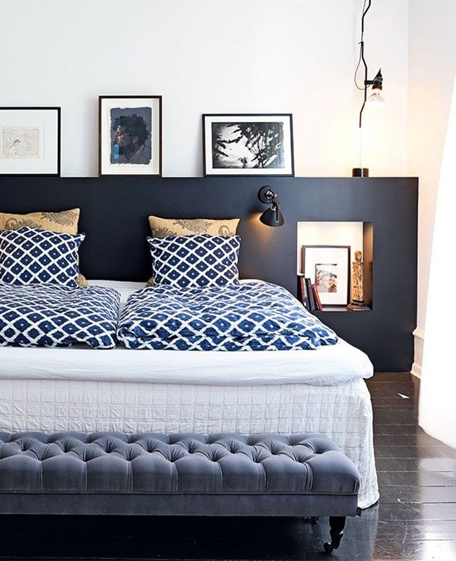 deco chambre bleu nuit blanc soubassement